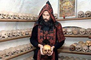 Monk at Hilandar with skull